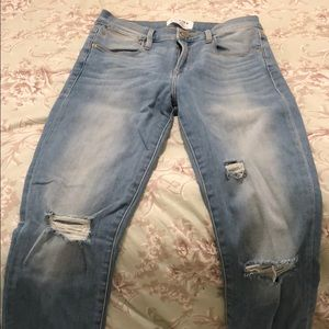 Frame Skinny Ripped Jeans- Fray bottom size 26